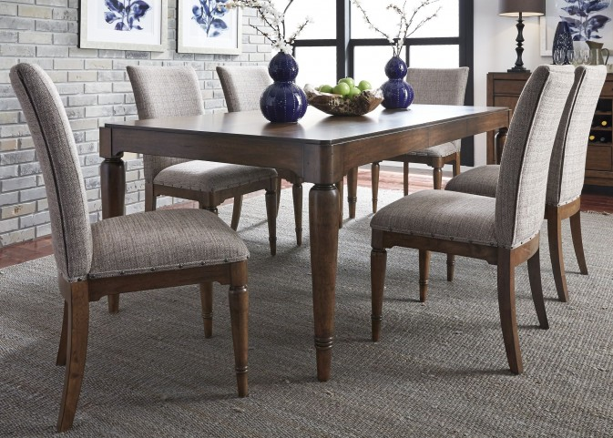 Avalon III Pebble Brown Extendable Rectangular Leg Dining Room Set