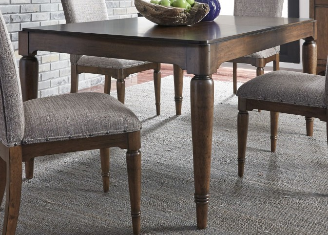 Avalon III Pebble Brown Extendable Rectangular Leg Dining Table