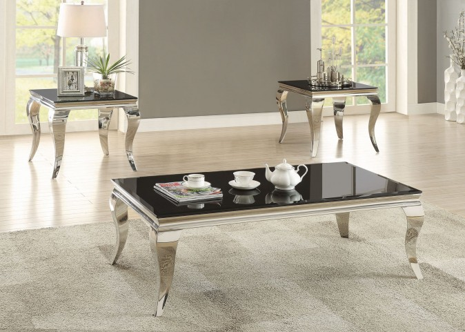 Chrome and Black Glass Top Occasional Table Set