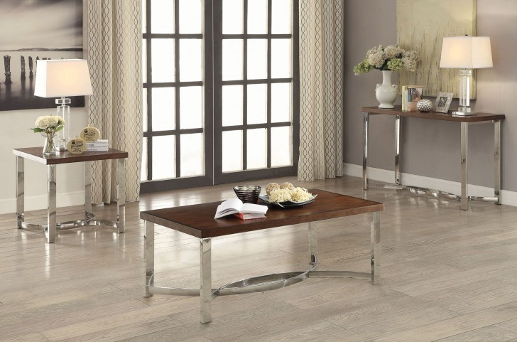 Dark Brown and Chrome Occasional Table Set