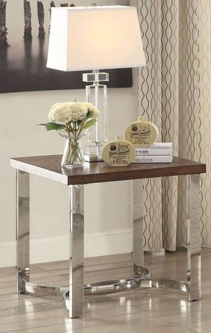 Dark Brown and Chrome End Table
