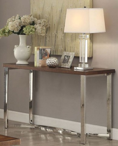 Dark Brown and Chrome Sofa Table