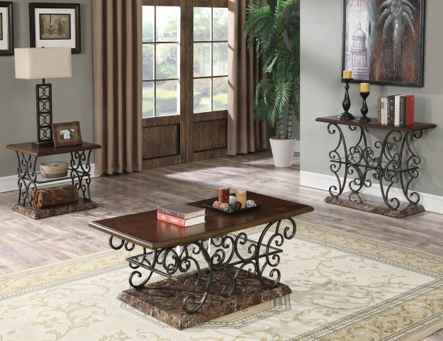 Merlot and Gold Brushed Bronze Occasional Table Set