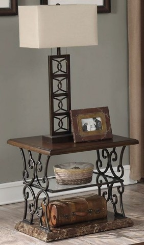 Merlot and Gold Brushed Bronze End Table