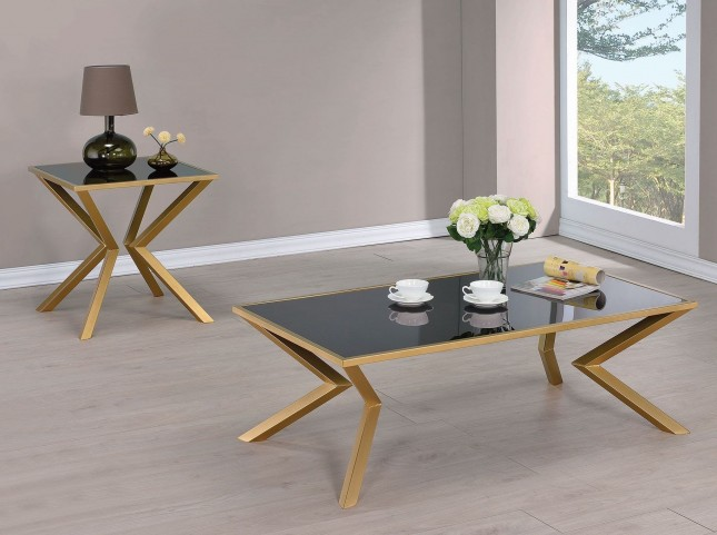 Black Glass and Brushed Brass Occasional Table Set