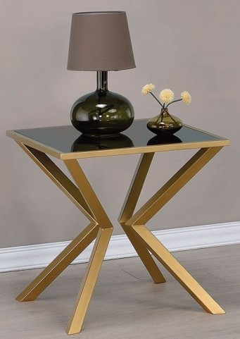 Black Glass and Brushed Brass End Table