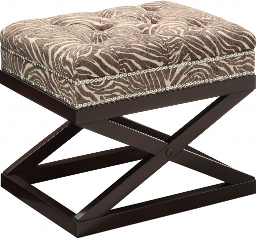 Beige/Brown Animal Print Accent Bench