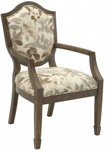 Ivory/Brown Leaf Pattern Accent Chair