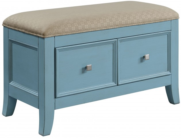 Makley Burnished Teal Blue 2 Drawer Bench