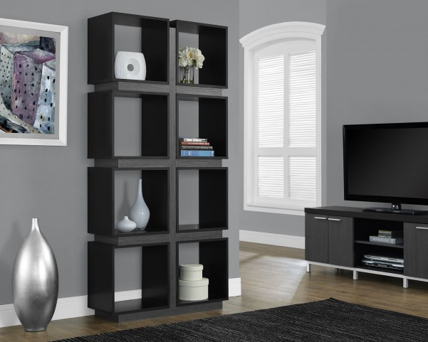 "Black/gray Hollow-Core 71"" Bookcase"