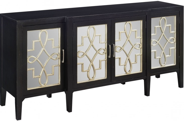 Mansfield Black/Silver 4 Door Media Credenza