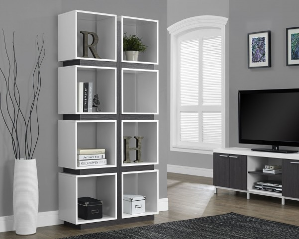 "White/gray Hollow-Core 71"" Bookcase"
