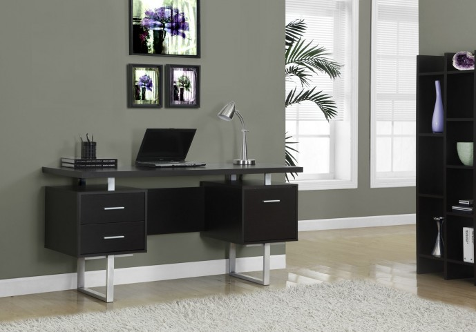 Cappuccino Hollow-Core/Silver Metal Office Desk