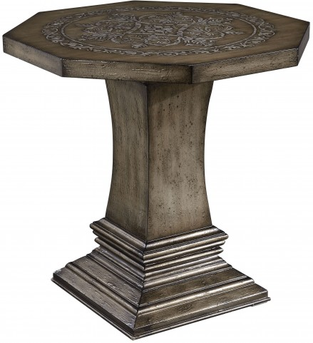 Distressed Texture Parchment Accent Table