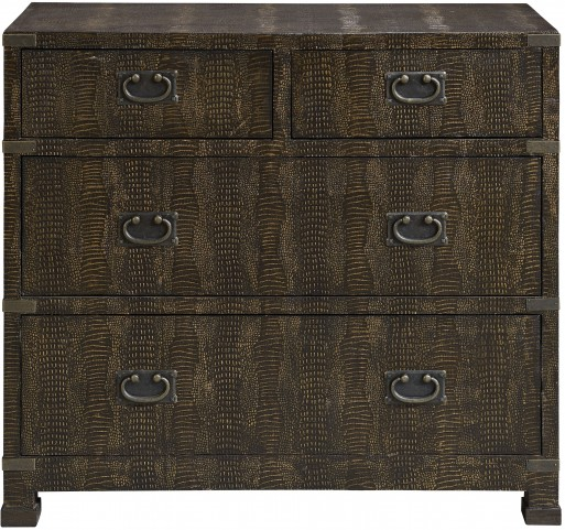 Lesotho Brown/Gold Reptile 4 Drawer Chest