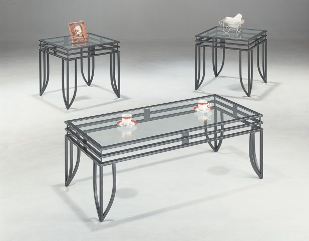 3 Piece Black Matrix Design Occasional Table Set With Glass Top