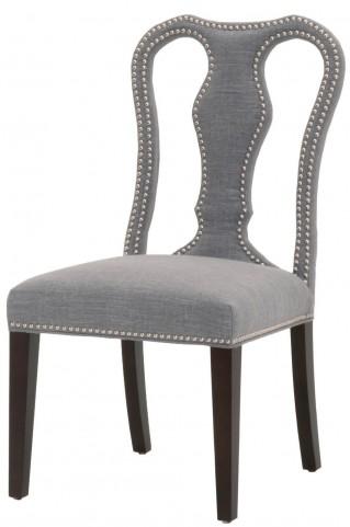 Villa Oatmeal Linen Bloom Dining Chair Set of 2