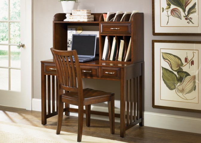 Hampton Bay Cherry Writing Desk with Hutch