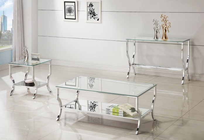Chrome and Tempered Glass Occasional Table Set