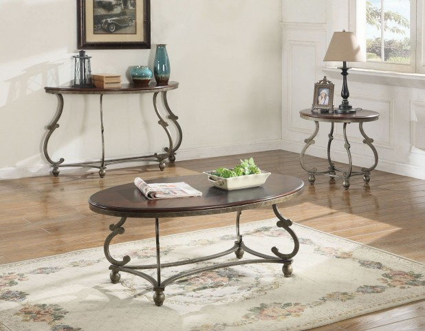 Cherry Brown and Antique Pewter Occasional Table Set