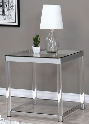 Chrome and Clear Acrylic End Table