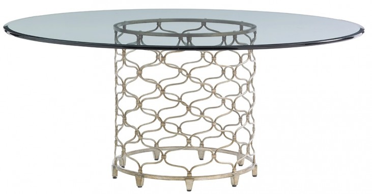 "Laurel Canyon Round 72"" Silver Leaf Glass Round Dining Table"