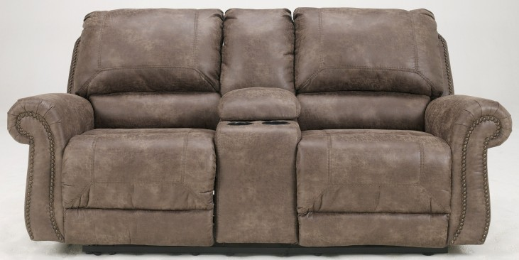 Oberson Gunsmoke Double Reclining Loveseat with Console