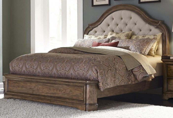 Aurora Medium Wood Queen Upholstered Platform Bed