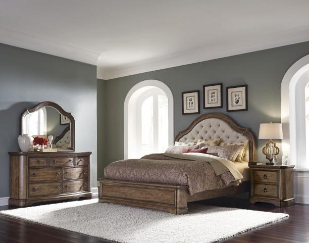 Aurora Medium Wood Upholstered Platform Bedroom Set
