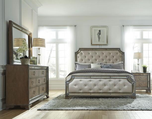 Karissa Light Wood Upholstered Panel Bedroom Set