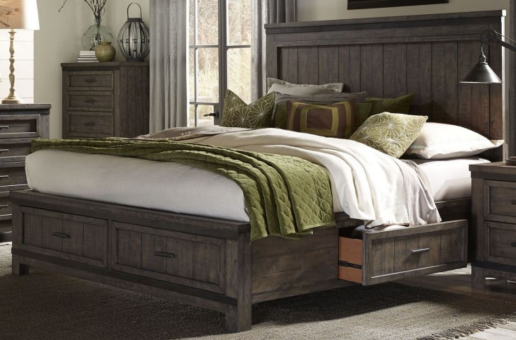 Thornwood Hills Rock Beaten Gray King Two Sided Panel Storage Bed