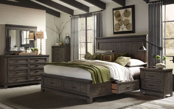 Thornwood Hills Rock Beaten Gray Two Sided Panel Storage Bedroom Set