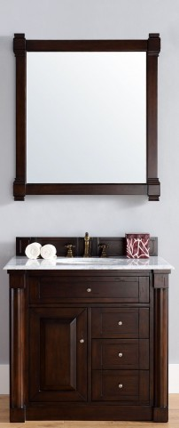 "New Haven 36"" Burnished Mahogany Single 2CM Top Vanity Set"