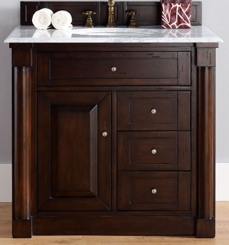 "New Haven 36"" Burnished Mahogany Single 2Cm Top Vanity"