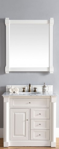 "New Haven 36"" Cottage White Single 2CM Top Vanity Set"