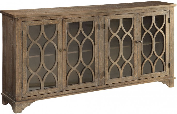Cayhill Distressed Brown 4 Door Media Credenza