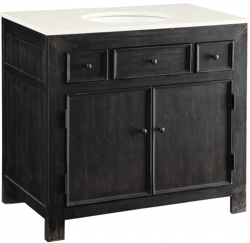 Emerson Distressed Black 2 Drawer Drop Lid Vanity Sink