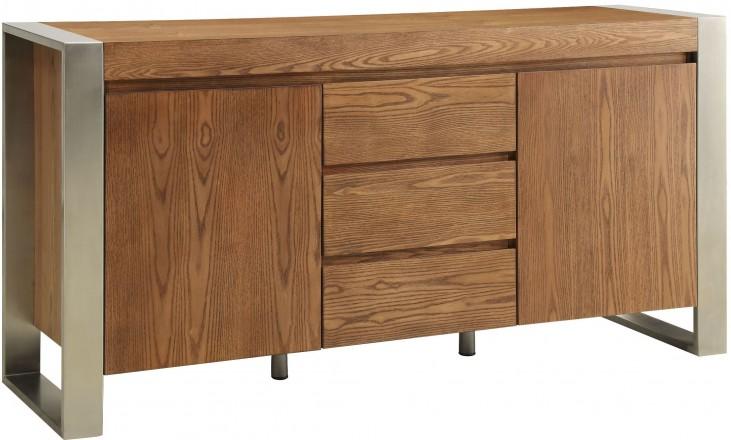 Lenox Medium Brown 3 Drawer 2 Door Media Credenza