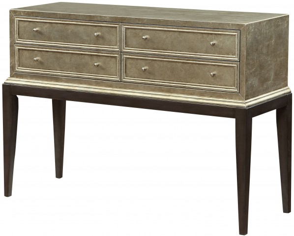 Silver Leaf 4 Drawer Console