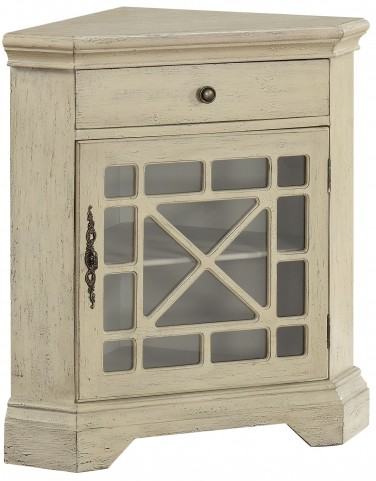 Milestone Textured Ivory One Drawer Corner Cabinet