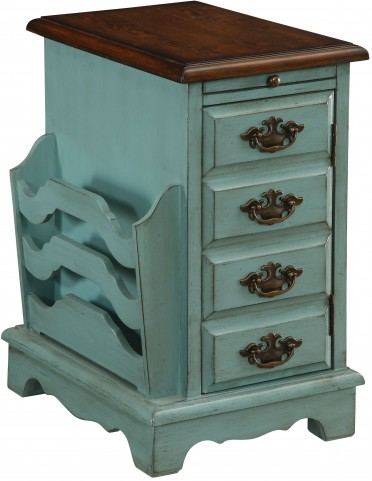 Washburn Teal One Door Pull Out Tray Magazine Cabinet