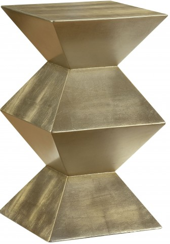 Metallic Gold Geometric Chairside Pedestal Table