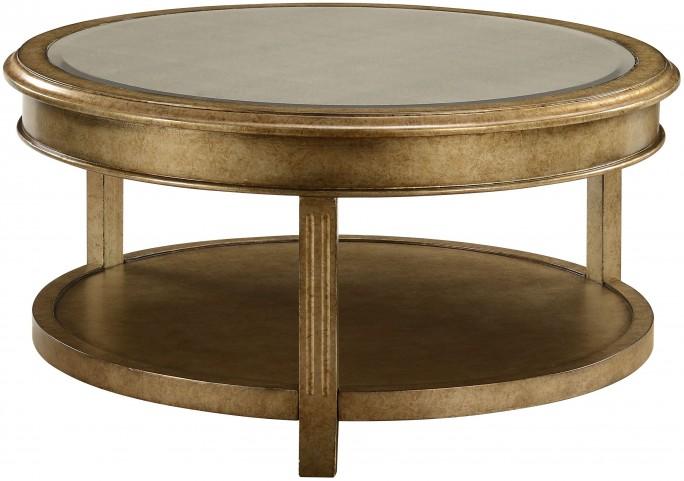 Grafton Metallic Gold Round Bevel Mirror Cocktail Table