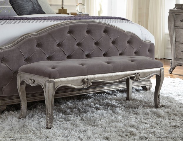 Rhianna Silver Patina Bed Bench