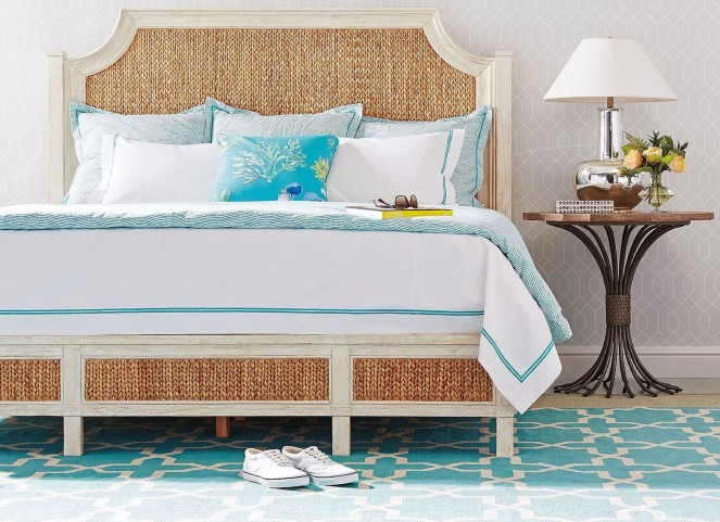 Coastal Living Resort Sailcloth Water Meadow Woven Bedroom Set with Eddy's Landing Lamp Table
