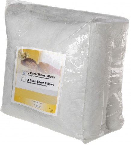White Medium Euro 3 Pack Bed Pillow Insert