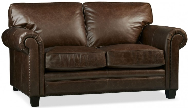 Hillsboro Chaps Havana Brown Leather Loveseat