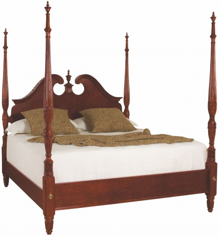 Cherry Grove Classic Antique Cherry Queen Pediment Poster Bed