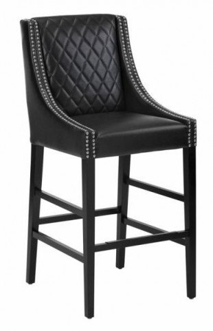 Malabar Black Leather Barstool