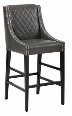 Malabar Grey Leather Barstool